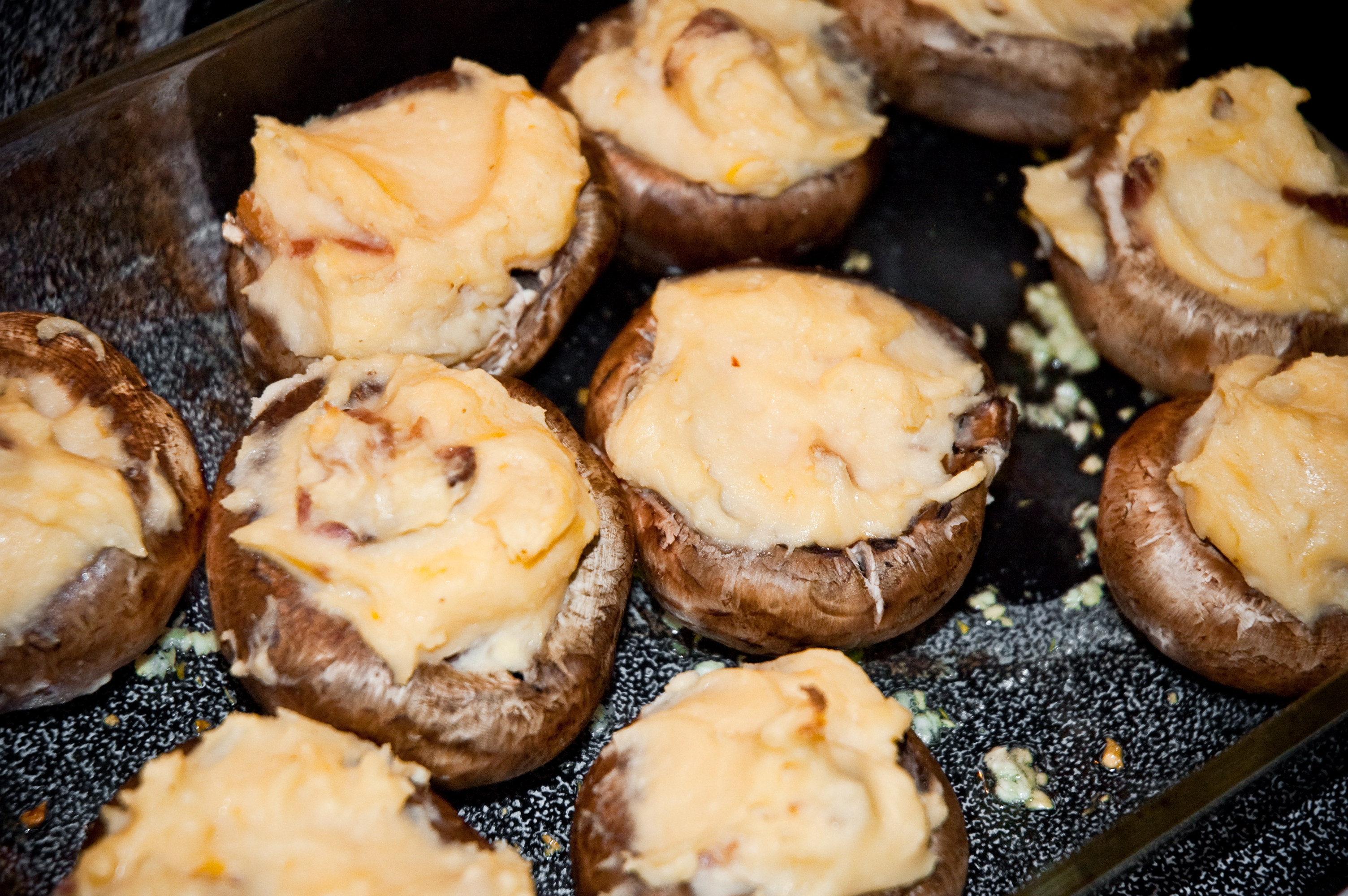 Four Cheese Potato Stuffed Mushrooms