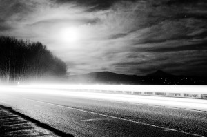 Mt. Hood, Washougal, fast lane, black and white driving picture