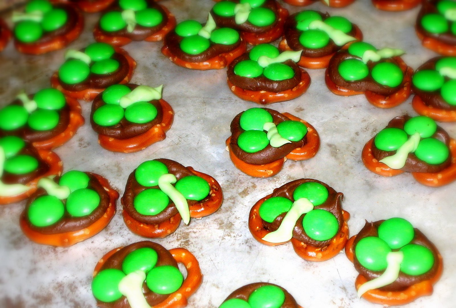 ... add your favorite green candies to make these little shamrock snacks
