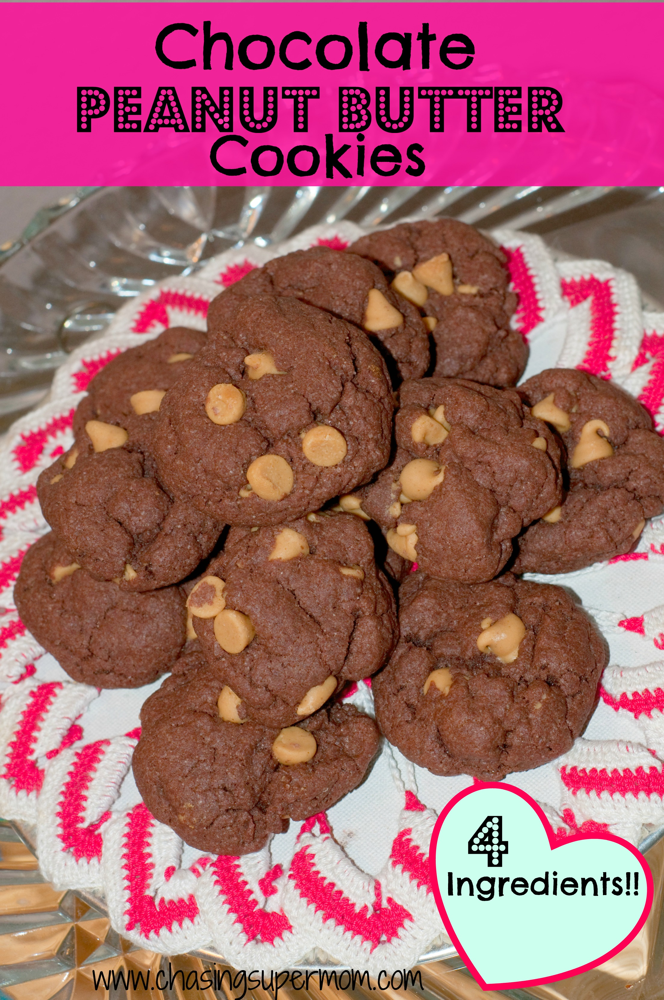 4 Ingredient Chocolate Peanut Butter Cookies