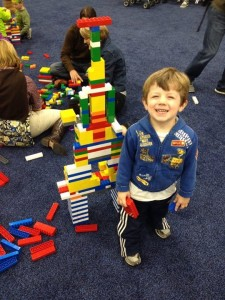 little boy with legos