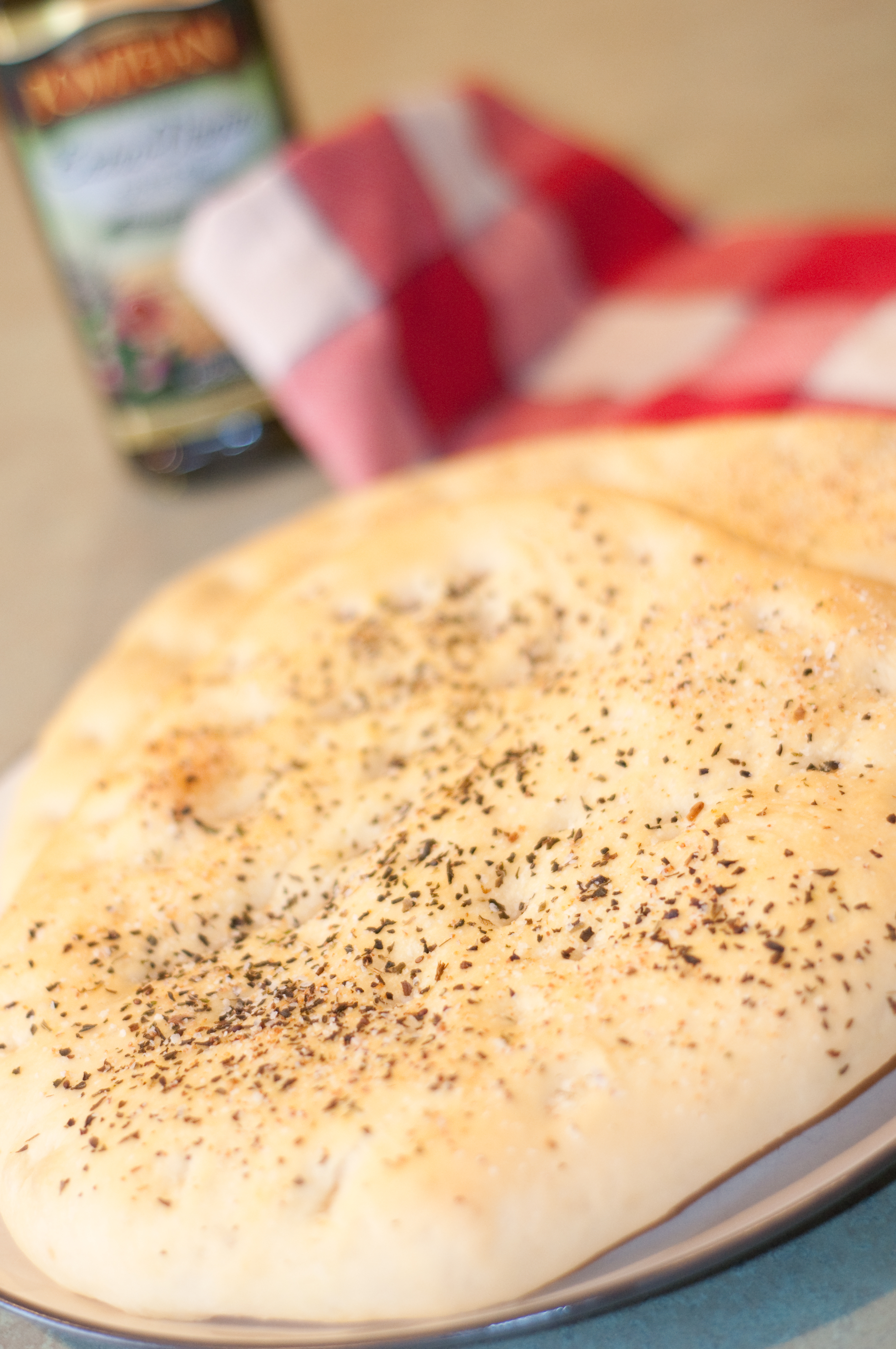 Home-made Focaccia Bread  Recipe + Pompeian Extra Virgin Olive Oil Review