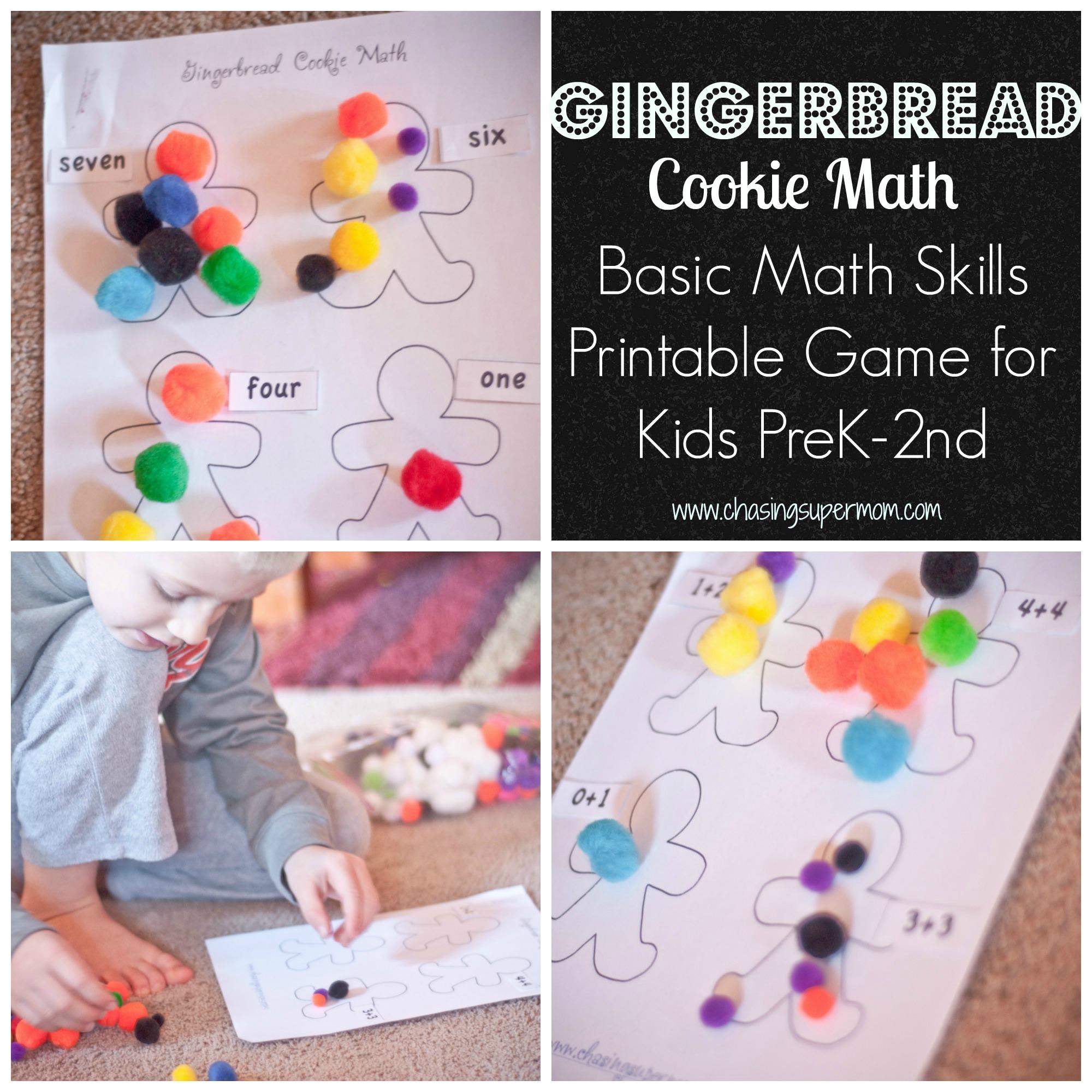 Gingerbread Cookie Math – Basic Math Skills Printable Game for Kids PreK-2nd