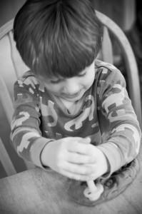 boy with play dough