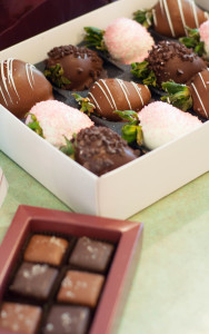 sea salt caramels, chocolate covered strawberries