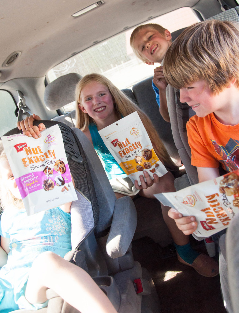 road trip snacks, kids road trip, road trip family, kids in van, fisher nut exactly #FisherNutExactly