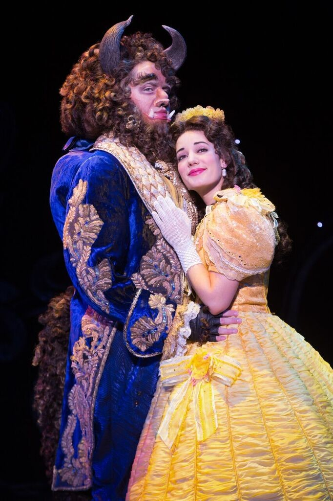 beauty and the beast musical, belle and beast, belle yellow gown